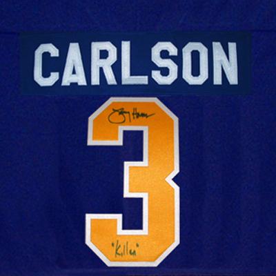 JS23-Charlestown-Chiefs-Signed-hockey-Jersey-carlson
