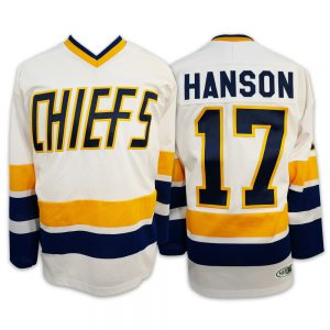 17-STEVE-HANSON-BROTHERS-SLAPSHOT-MOVIE-HOCKEY-JERSEY-CHARLESTOWN-CHIEFS-HOME